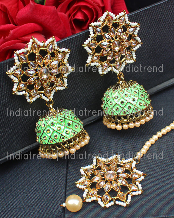 Kayra Jhumki Earrings & Tikka