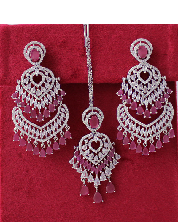 Noor Earrings & Tikka (Silver)