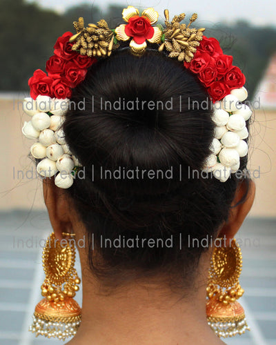 Sonal Artificial Flowers Hair Bun Bridal Gajra