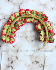 Henna Artificial Flowers Hair Bun Bridal Gajra