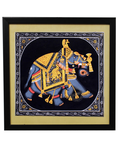 Royal Mughal Blue Elephant Painting
