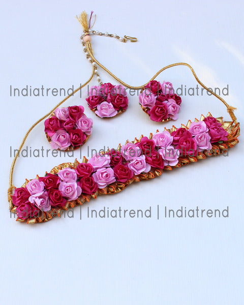 Suniti Floral Choker Necklace Set