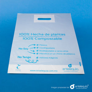Bolsa Asa Recortada Compostable BARE - Desechables Biodegradables Entelequia® 600 pzas