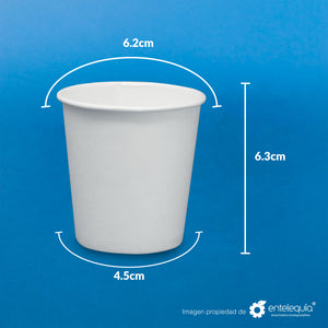 Vaso de Papel bebida caliente 4oz VCPLA4 - Desechables Biodegradables Entelequia®