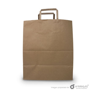 Bolsa de Kraft Plana con asa BAP 1/7 - Desechable Biodegradable Entelequia 50/300 pzas