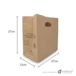 Bolsa de Kraft con asa recortada BAR - Desechables Biodegradable Entelequia 50/500