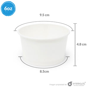 Contenedor para Helado CB 6oz Papel Blanco - Desechable Biodegradable Entelequia