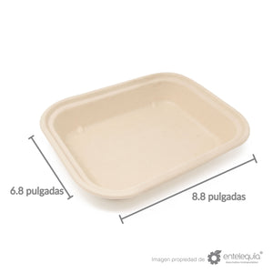 Contenedor Paja de Trigo Rectangular Chico 1 división EP8X6L - Desechable Biodegradable Entelequia