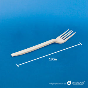 "Tenedor 7"" Fécula de Maíz T7 - Desechable Biodegradable Entelequia"