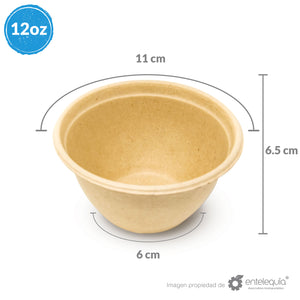 Tazón Paja de Trigo 12oz TP12 - Desechable Biodegradable Entelequia 500 pzas