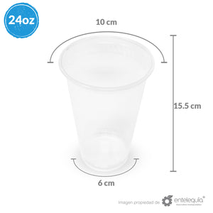 Vaso PLA bebida Fría 24oz - Desechable Biodegradable Entelequia