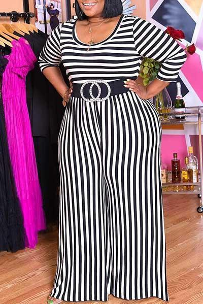 O-neck Pleated Striped Jumpsuits