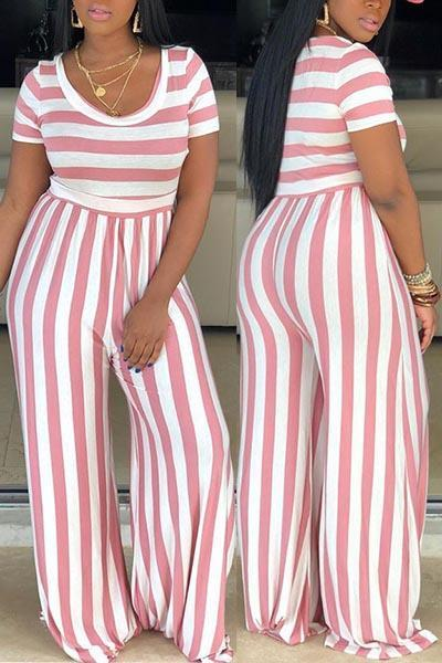 O-neck Striped Wide Leg Jumpsuits