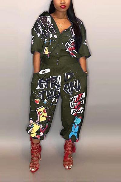 Sexy Letters Printed Jumpsuits