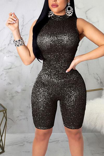 Sleeveless Casual Sequins Evening Romper