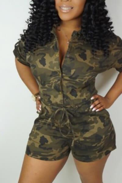 Fashion Casual Camouflage Single-breasted Romper