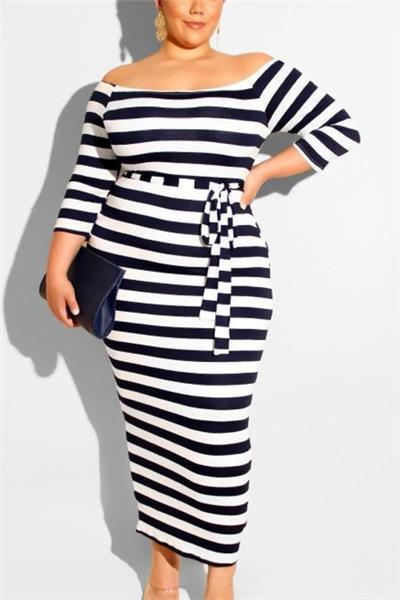 Round Neck Horizontal Stripes Long Dress