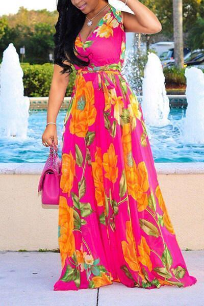 Long Sleeve Floral Printed Wrap Tied Casual Maxi Dress