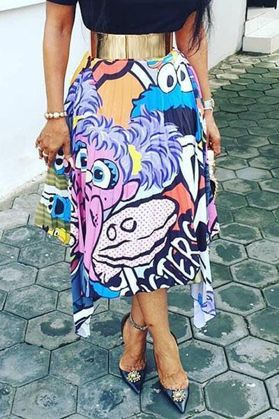 Charming Cartoon Printed Pleated Skirt