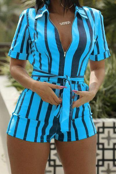 Fashion Striped Shirt Collar Romper