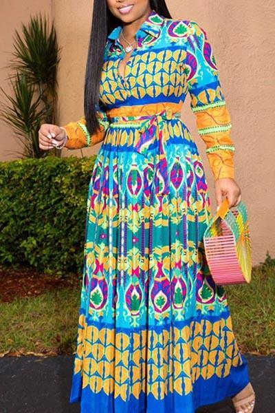 Printed Long-sleeved Dress