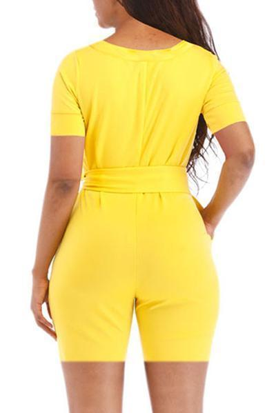 Solid Color O-neck Romper