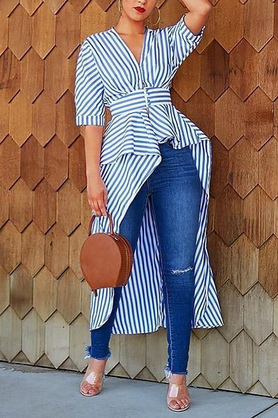 Striped Irregular Shirt Top