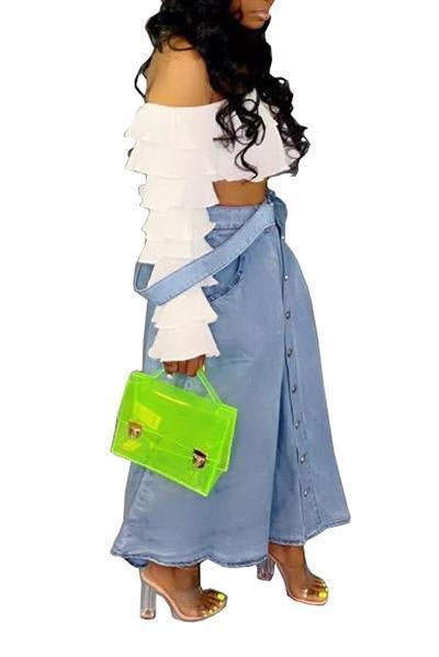 Fashion Button Jean Skirt