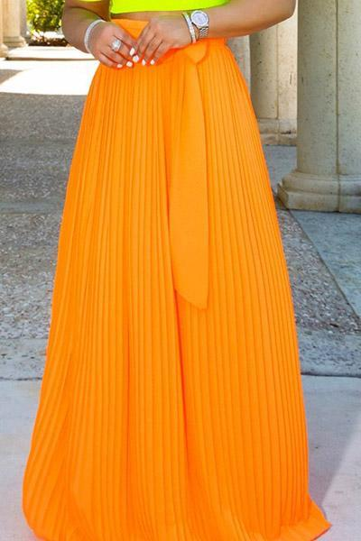 Trendy Bow-Tie Light Floor Length Skirt