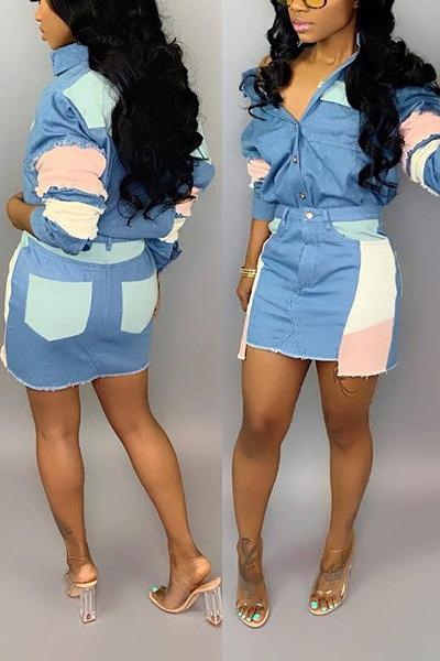 Casual Patchwork Denim Two-piece Skirt Set