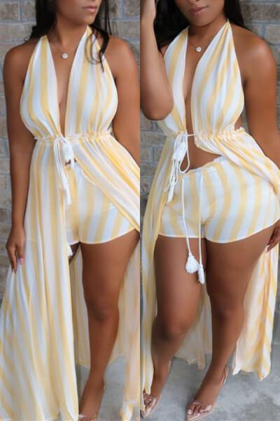 Sexy Striped Backless Beach Set