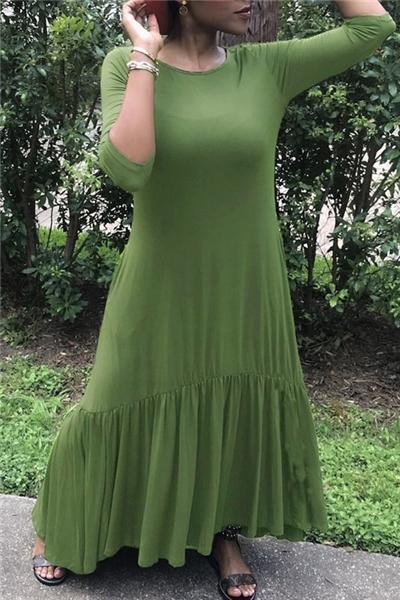 Solid Color Casual Dress