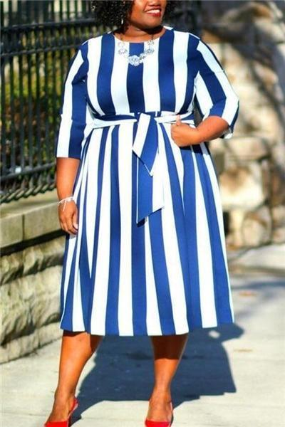 Casual Striped Printed Dress
