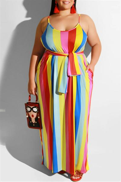 Plus Size Striped Sling Straight Dress