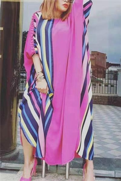 Printed Bat Sleeve Lace Long Dress