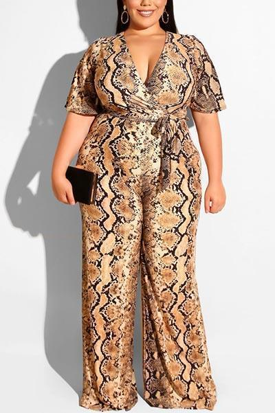 Sexy V-neck Snake Straight Jumpsuit