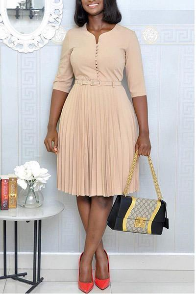 Pleated Plus Size Dress