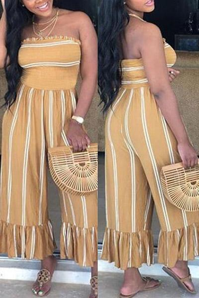Strapless Pleated Striped Jumpsuits
