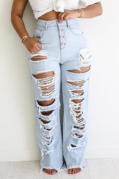 Trendy Broken Holes Jeans