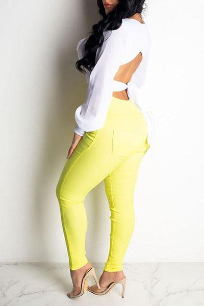 Stylish High Waist Lace-up Pants