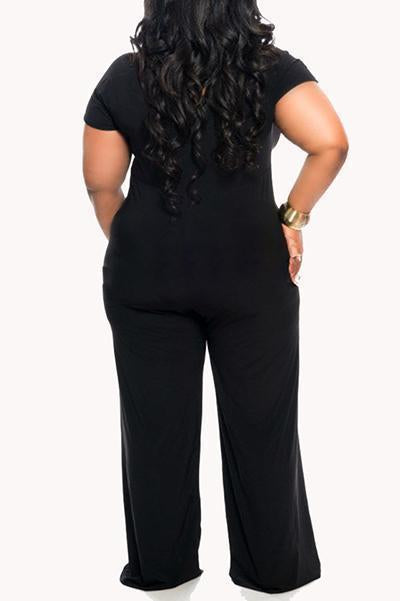 Plus Size V-neck Jumpsuits
