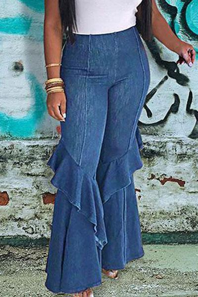 High Waist Flared Layered Jeans