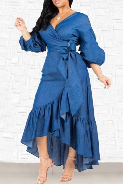 Ruffled Lantern Sleeve V-neck Denim Max Dress
