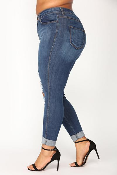 High Waist Hole Denim Jeans