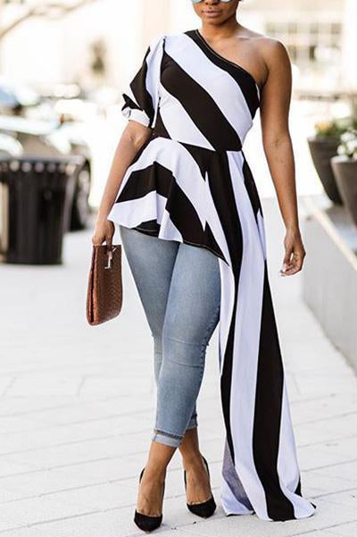 One Shoulder Stripe Asymmetrical Top