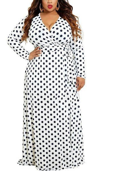 Long Sleeve Dot Maxi Dress