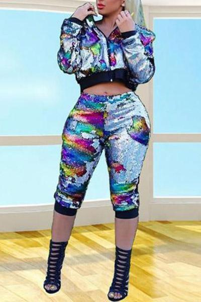 Shiny Colorful Sequins Pants