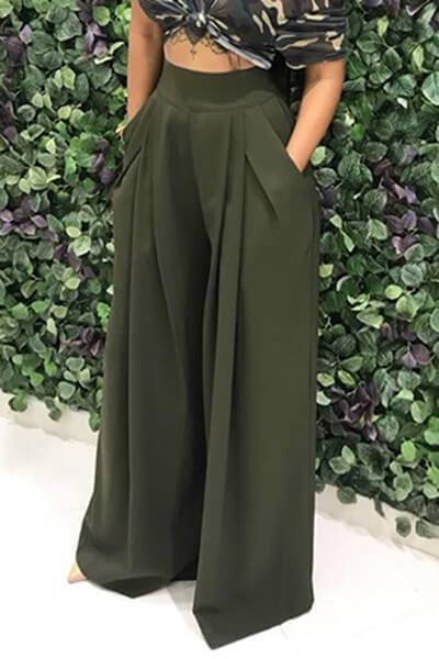 Lady Wide Leg Trousers Fashion Flare Pants