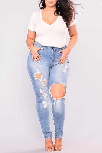 Ripped Skinny Denim Jeans