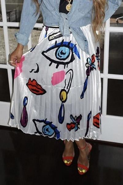 Ankle-Length Print Cartoon Pleated Skirt